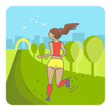 Running woman. Color sport poster, print or banner. Vector illustration of flat design Stock Image