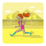 Running woman. Color sport poster, print or banner. Vector illustration of flat design Royalty Free Stock Photo