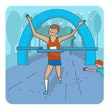 Running woman. Color sport poster, print or banner. Vector illustration of flat design Royalty Free Stock Photos