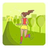 Running woman. Color sport poster, print or banner. Vector illustration of flat design Stock Photo