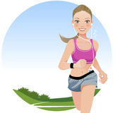Running woman in country side Stock Photography