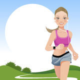 Running woman in country side Royalty Free Stock Photos