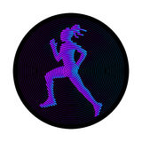 Running woman. Creative silhouette created from lines Royalty Free Stock Image
