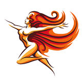 Running Woman Emblem. Colorful illustration of naked long haired naked woman in motion.  on white Royalty Free Stock Photo