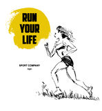 Running woman figure. Hand drawn black stroked sketch of running human figure on white background. Good for sport poster or placard Royalty Free Stock Image