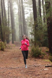 Running woman in forest woods training Stock Photography