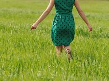 Running Woman in Grass Royalty Free Stock Image
