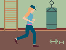 Running woman in gym in flat design with dumbbells and punching bag. Retro Royalty Free Stock Image