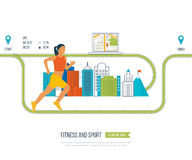 Running woman. Healthy lifestyle, fitness and physical activity concept. Royalty Free Stock Image