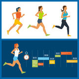 Running woman. Healthy lifestyle, fitness and physical activity concept. Stock Photos