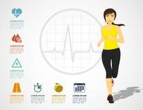 Running woman infographic Stock Photos
