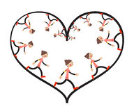 Running Woman Inside Heart Royalty Free Stock Photo