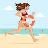 Running woman - lifeguard Royalty Free Stock Images