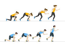 Running Woman and Man Step Positions Set. Vector. Running Woman and Man Step by Step Positions Set. Health Care Concept. Flat Design Style Vector illustration Stock Photography
