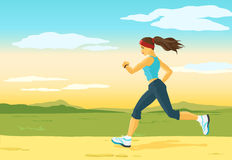 Running woman, morning jogging Royalty Free Stock Image