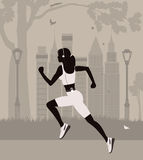 Running woman in New York. Running woman in the park in  New York Royalty Free Stock Photos