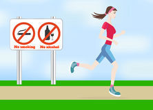 Running woman outdoors Royalty Free Stock Photo