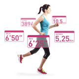 Running woman over white background Royalty Free Stock Photography