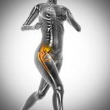 Running woman radiography scan image Royalty Free Stock Image