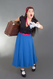 Running woman with retro suitcase Stock Photos