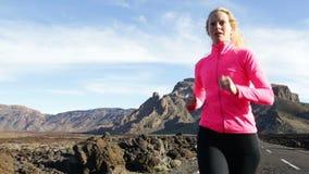 Running woman runner exercising stock video footage