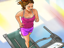 Running woman on the running track Royalty Free Stock Photography