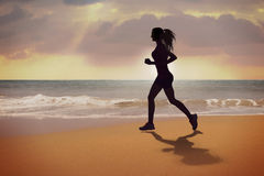 Running Woman Silhouette Royalty Free Stock Photo