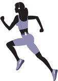 Running woman silhouette. Running woman silhouette  on white Royalty Free Stock Photo