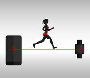 Running woman and smartphone with smartwatch Stock Photos