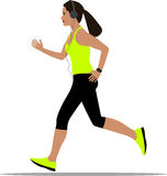 Running woman in sportswear and headphones. Vector Royalty Free Stock Photography