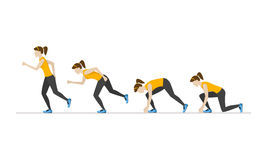 Running Woman Step Positions Set. Vector. Running Woman Step by Step Positions Set. Health Care Concept. Flat Design Style Vector illustration Royalty Free Stock Image