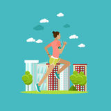Running woman on a street. Sport fitness concept vector illustration in flat style.  Stock Photo