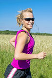 Running woman in summer nature, Stock Images
