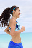 Running woman training in sports bra Royalty Free Stock Photography