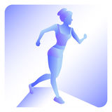 Running woman. Vector illustration of line style. Color sport poster, print or banner for marathon. Stock Photos