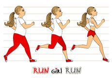 Running woman weight loss progress Stock Images