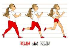 Running woman weight loss progress. Running woman weight loss fitness exercises progress isolated vector illustration Stock Images