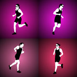 Running women. Four  silhouettes of running women Royalty Free Stock Images