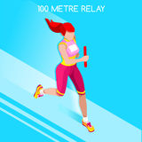 Running Women Relay of Athletic Summer Games Icon Set.Speed Concept.3D Isometric Athlete.Sport of Athletics.Sporting Competition Royalty Free Stock Image