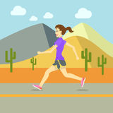 Running Women, Sport Exercising Flat Design Vector Royalty Free Stock Image