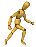 Running Wooden Dummy. 3D rendering of a puppet as a movement study ongoing Stock Image
