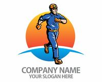 Running worker logo Royalty Free Stock Photography