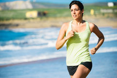 Running workout on beach Royalty Free Stock Photo