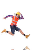 Running young builder in hurry isolated on white Royalty Free Stock Image