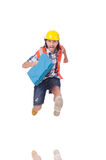 Running young builder with toolbox isolated on Stock Photography