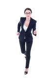 Running young business woman in suit isolated on white Royalty Free Stock Photos