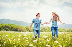 Running young couple Royalty Free Stock Image