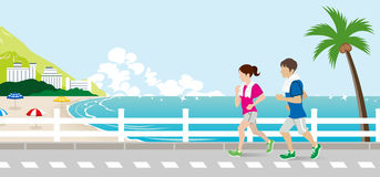 Running young couple in the Summer Seaside street. Vector Illustration royalty free illustration