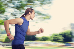Running young man. In the nature Royalty Free Stock Photo