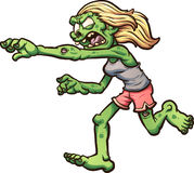 Running zombie. Female cartoon running zombie. Vector clip art illustration with simple gradients. All in a single layer stock illustration